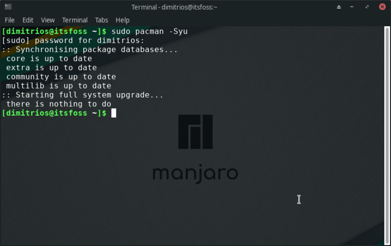 Update Manjaro Linux using command line