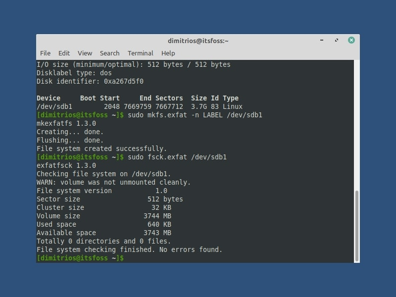 Use fdisk to format USB as exfat in Linux command line