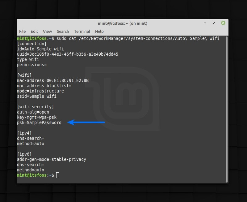Get saved wifi password in Linux terminal