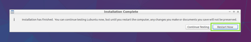 Lubuntu Installation Finished