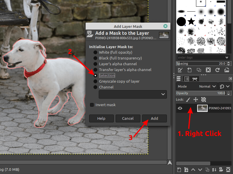 Add layer mask in GIMP