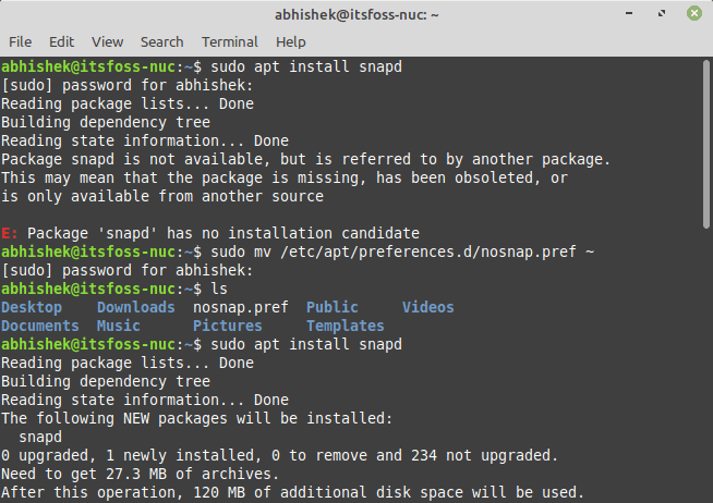 Enable Snap Support Linux Mint 20