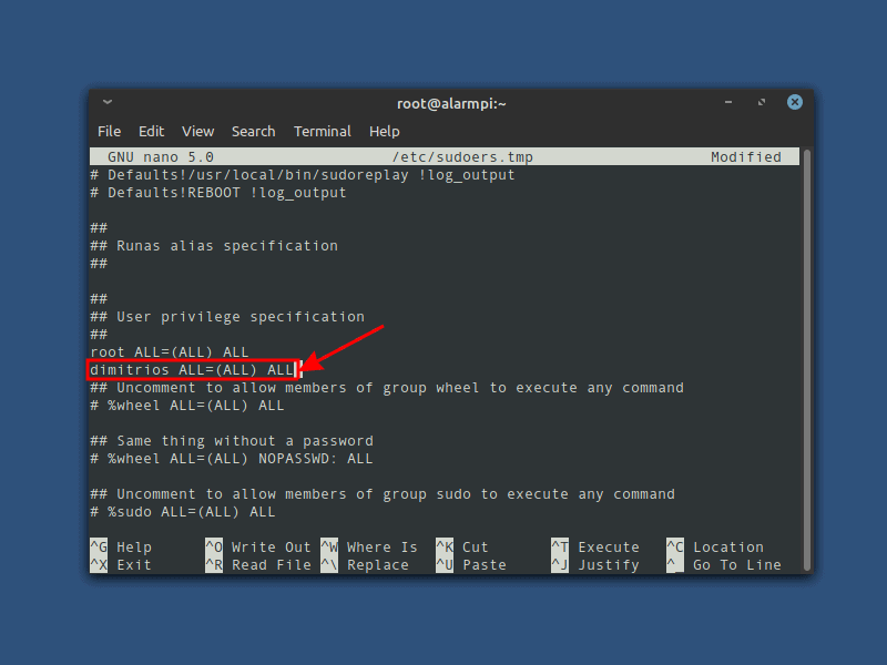 add sudo user in Arch Linux ARM