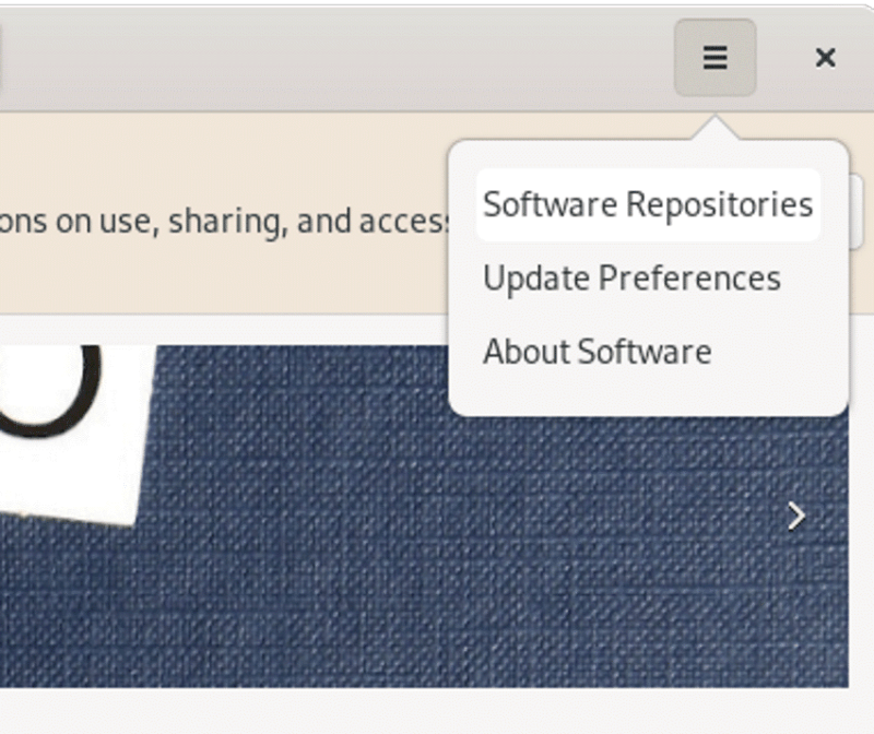 Gnome Software Menu