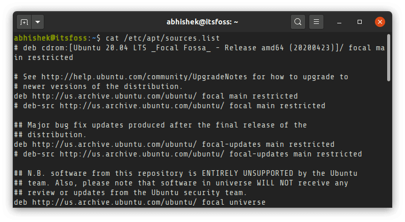 Ubuntu Apt Sources List