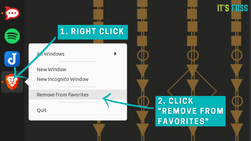 "Right-click on the icon and select ""Remove from Favorites"" to remove icons from the dock in Ubuntu"