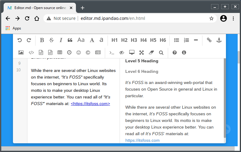 Editing Markdown in browser