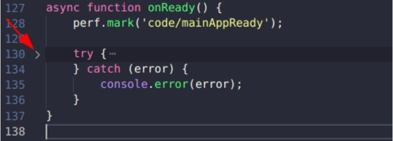 Collapse a region of code