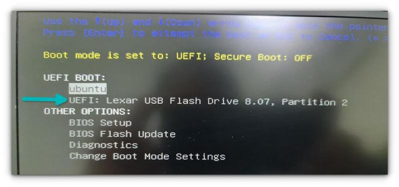 boot from live usb