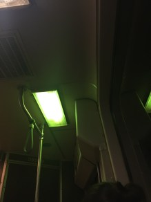 The weird green light on the train