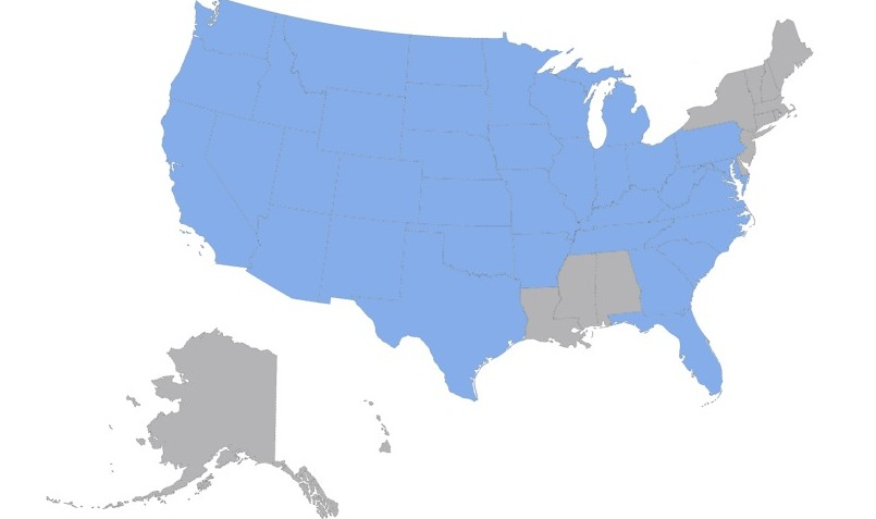States I have driven and re-driven, in blue.