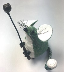 Green Tweed Mouse with golf club and ball