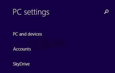 Windows 8 PC Settings - Account