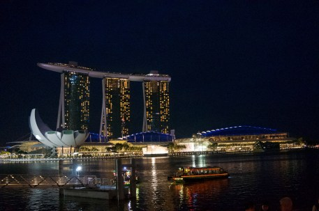 The famous Marina Bay Sands hotel that costs 900 USD to stay in per night...