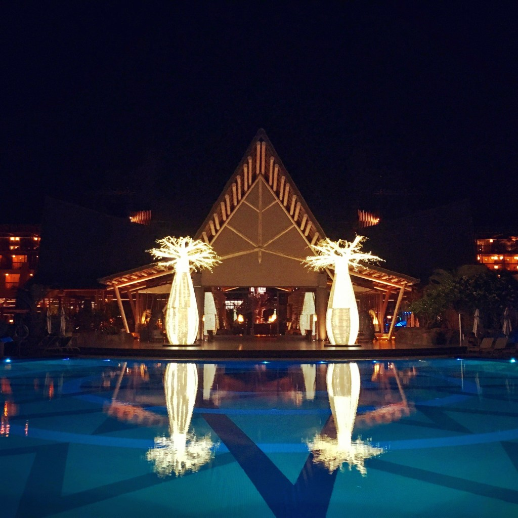Pool view of the African themed bar, Lopesan Baobab