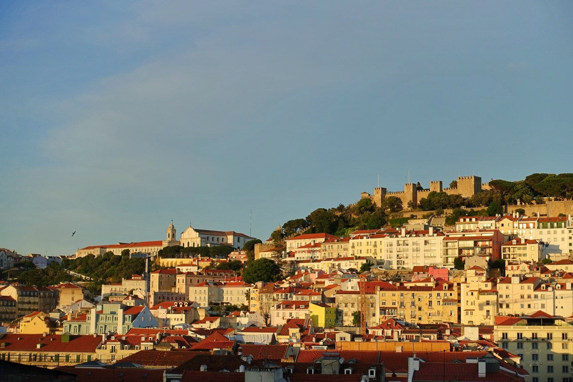 Golden hour view of Lisbon