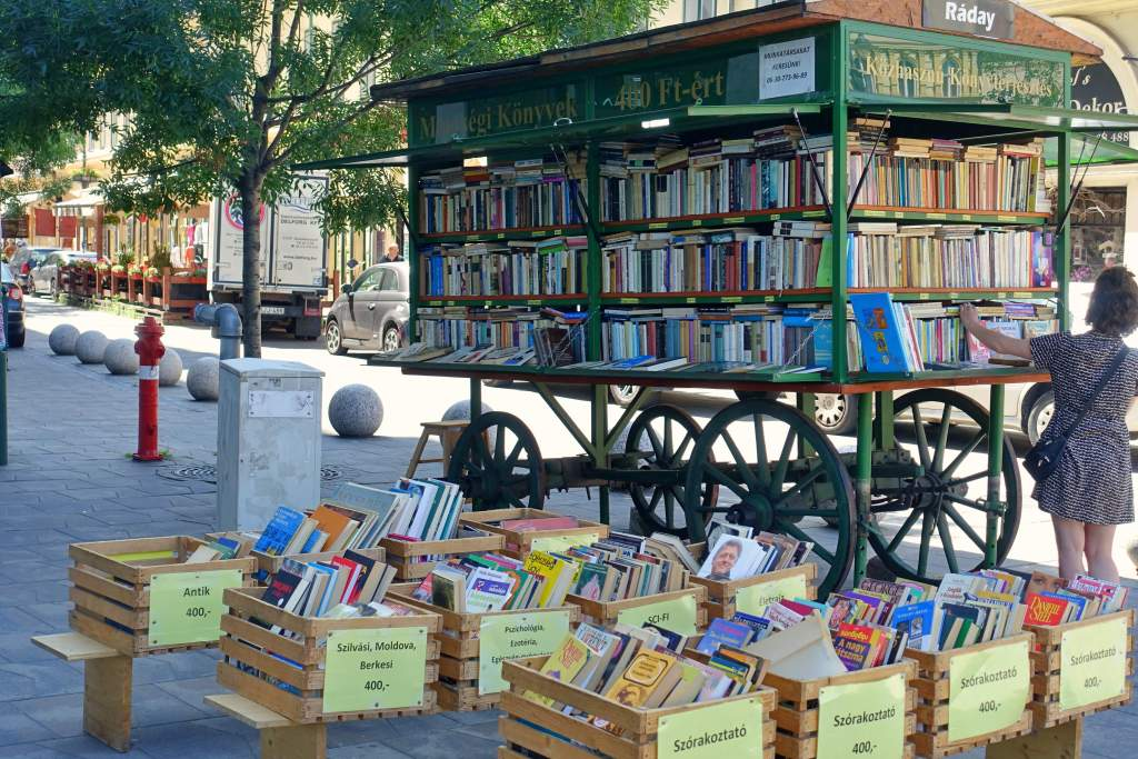 Book cart selling books on the street of Budapest