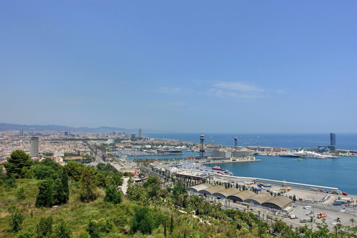 View of Barcelona seafront from Jardins del Mirador