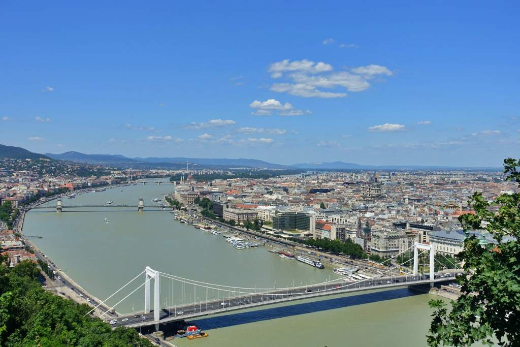View from top of Gellert Hill of Budapest