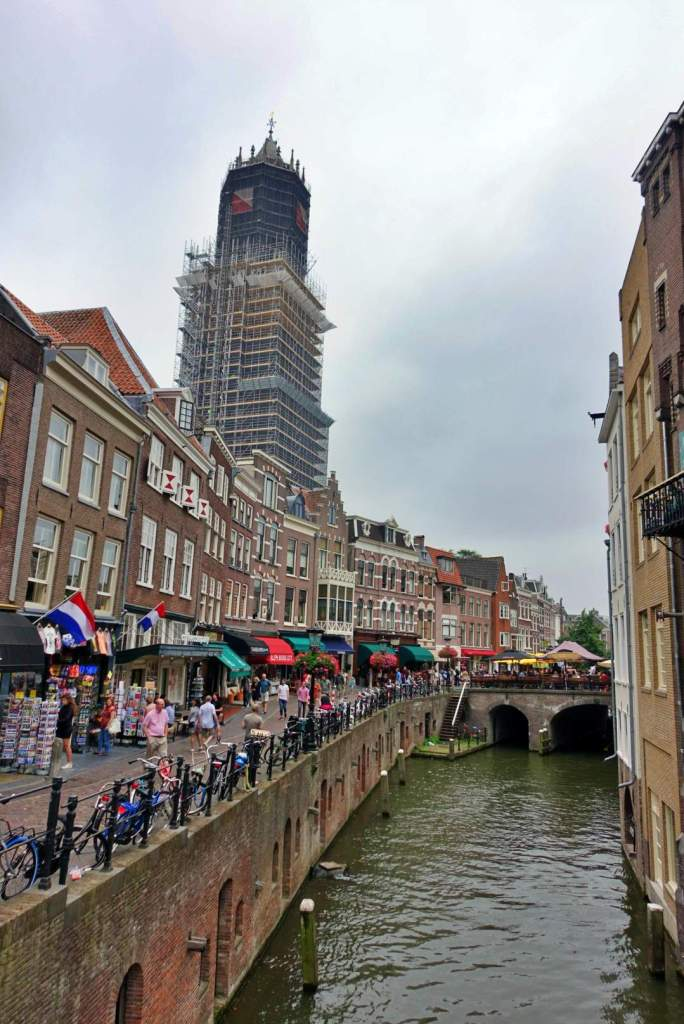 Shops and Utrecht cathedral in background