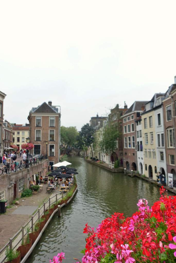 Utrecht canal view with flowers