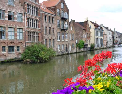Ghent canal and flowers