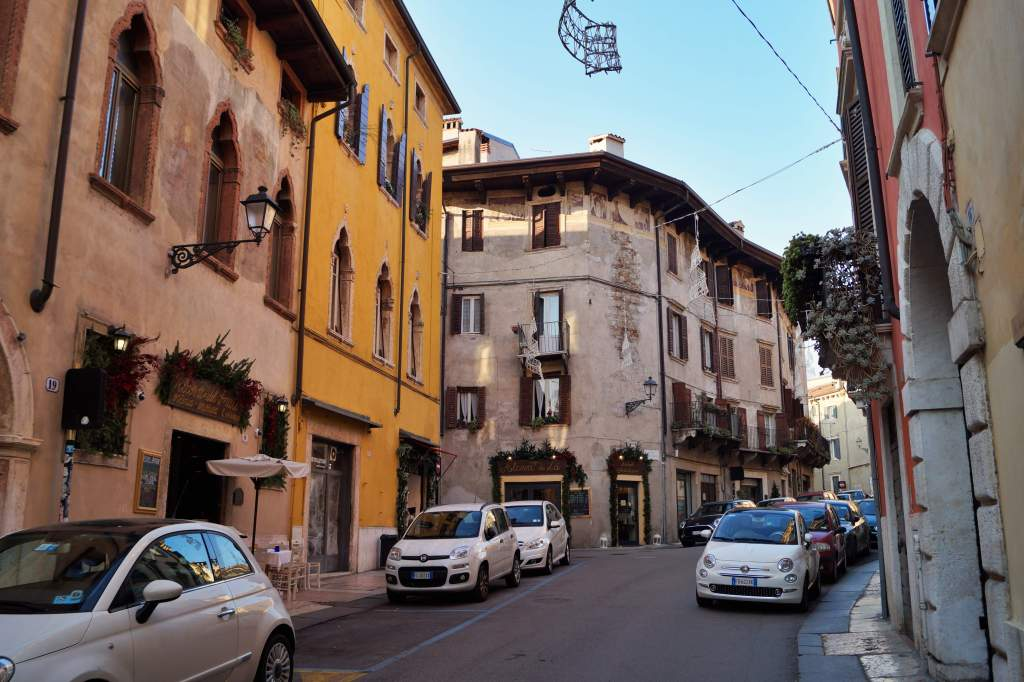 Verona street with colourful buildings