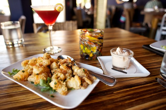 Sweet and Spicy Calamari with Raspberry Lemon Drop Martini