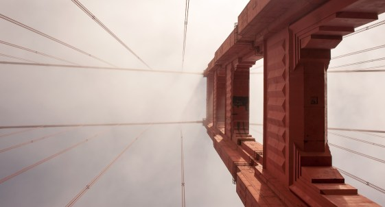 Looking up to the sky from the middle of the Golden Gate Bridge in San Francisco