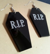 Coffin Vampire RIP Big Dangle Earrings Halloween (4)