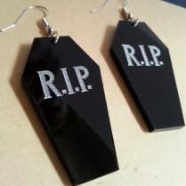 Coffin Vampire RIP Big Dangle Earrings Halloween (4)
