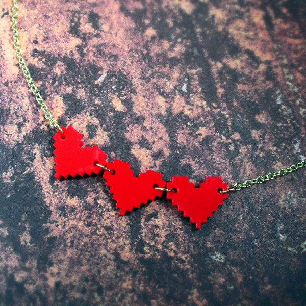 8 bit pixel red heart container cosplay necklace