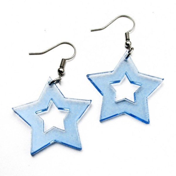 blue neon star earrings for raves