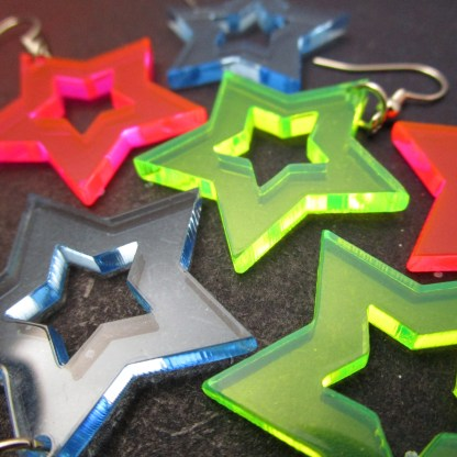 up close collection of star cutout acrylic earrings