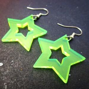 green neon acrylic star dangle statement earrings