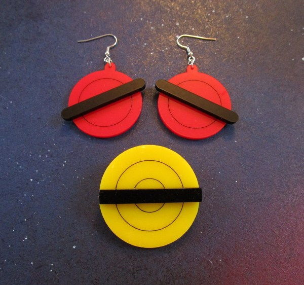Animated X-Men Jubilee Earrings and Brooch Cosplay Set red earrings and yellow brooch with black stripe