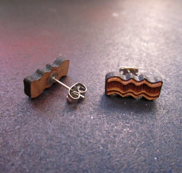 Delicious Wooden Bacon Stud Earrings facing forward and one facing back to show stud post
