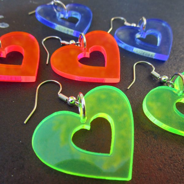 collection of multicolored neon heart earrings