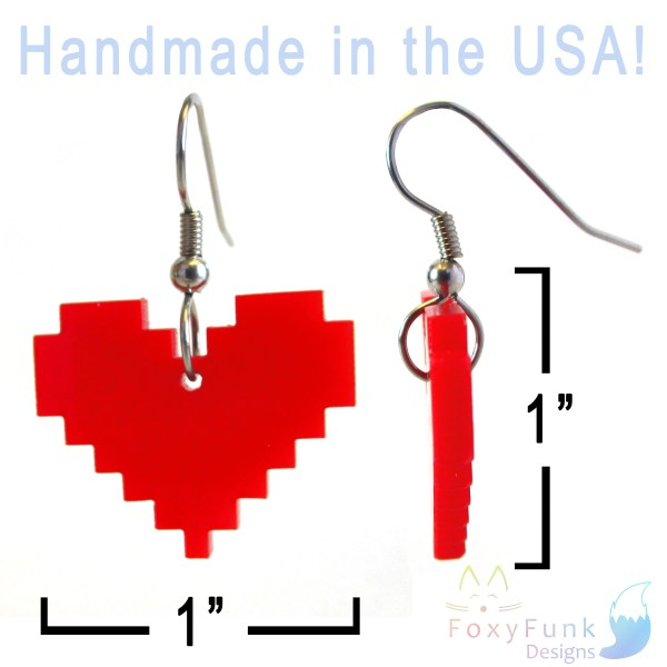 handmade in usa red pixel heart earrings floating on whate background with measurments
