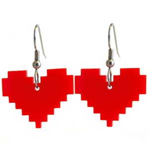 floating red pixel heart pair of earrings with white background
