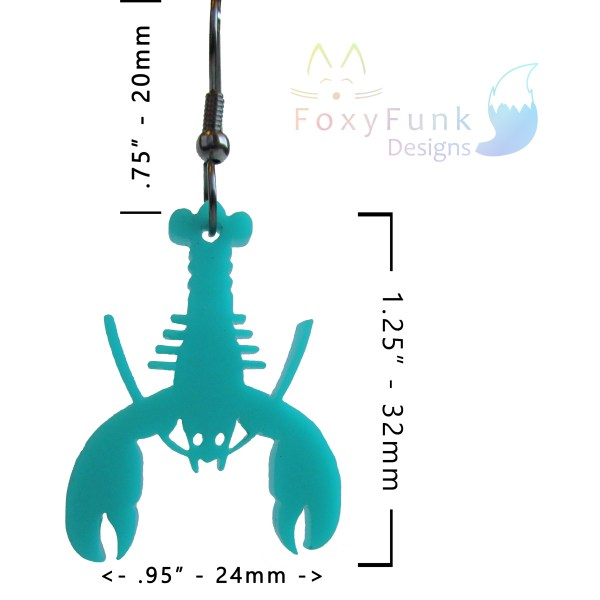 measurements of one teal earring pendant with foxyfunk designs logo