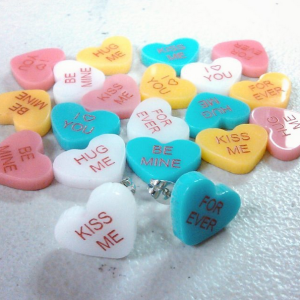 Customized Candy Hearts Stud Earrings with words on white background