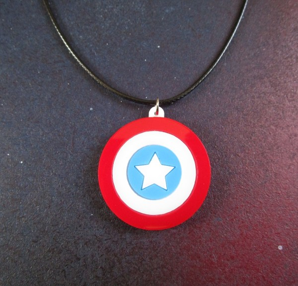 front close shot of Captain America Shield Necklace made of laser cut acrylic