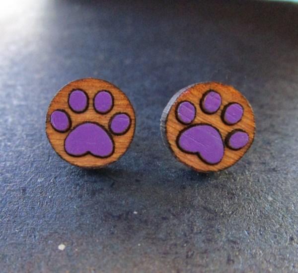 purple Paw Print Earrings made of laser etched wood stud earrings