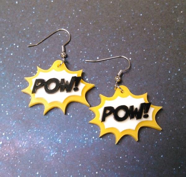 yellow POW! work action bubble comic book style earring set