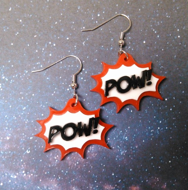red POW! work action bubble comic book style earring set