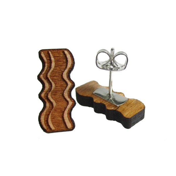 Cute little wood bacon stud earrings food brunch breakfast jewelry
