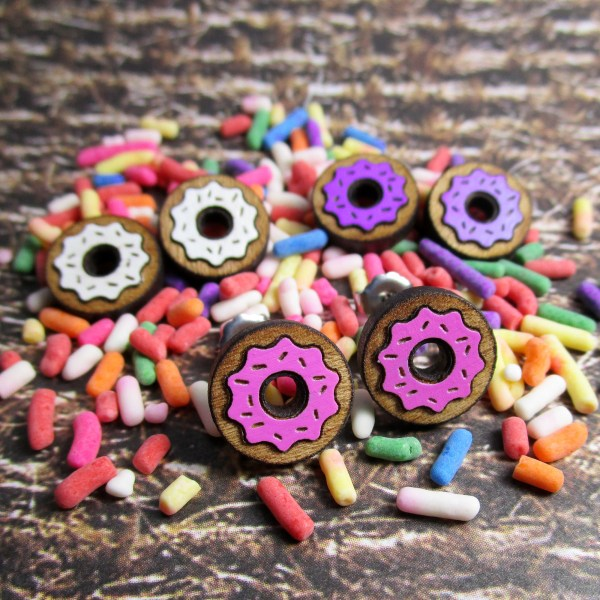 Donut Dough Nut Dunkin Frosted Sprinkle Donuts wood Stud Earrings Food Snack Jewelry
