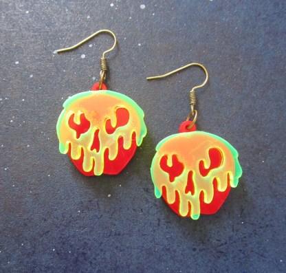 poison apple shaped dangle earrings