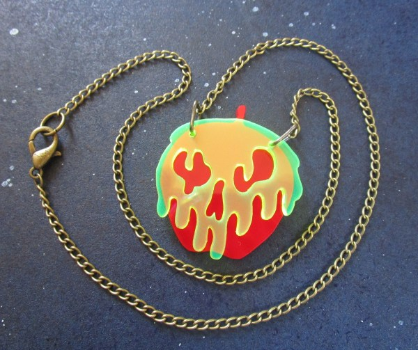 red poison apple snow white necklace with necklace chain in coil to see lobster claw clasp